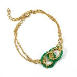 China Attracted gold charm bracelet with shinning green acrylic be on sale