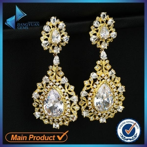 China chinese white gold cubic zirconia earrings on sale