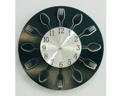 China modern and newest kitchen clock wall with engraved forks and knives ,kitchen clock wall manufact on sale