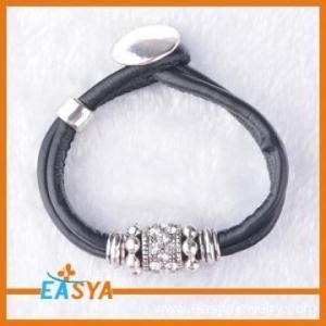 China Mens Black Leather Braided Bracelets Price on sale