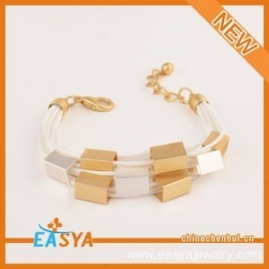 China Fashion Handmade Bracelet Multilayer Black And White Rope Gold Plated Bracelet on sale