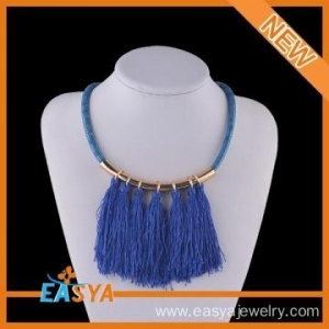 China Large Costume Jewelry Necklace Blue Chain Blue Tassel Necklace on sale