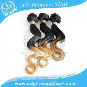 China high quality cheap Mongolian hair weave from Qingdao body wave 1B/613# ombre hair weave wholesale on sale