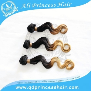 China High quality Peruvian ombre hair weave 1B/613# Qingdao factory body wave on sale