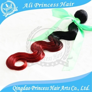 China 6A grade two tone ombre hair weaves 1B red Brazilian virgin hair weave body wave on sale