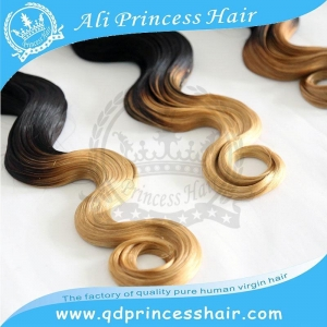 China hot selling charming body wave Peruvian virgin hair weaving ombre hair weaves 1b/613# on sale