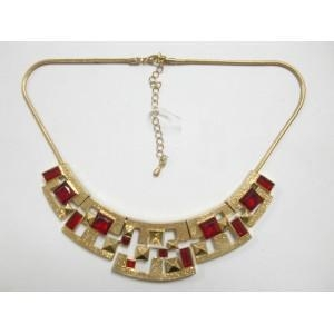 China 2013 Girls Leisure Wear Metal Crystal Pendant Alloy Red Stone Choker Necklace on sale