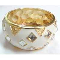 White Enamel Pyramid Design Diamonds Bangle Cuff