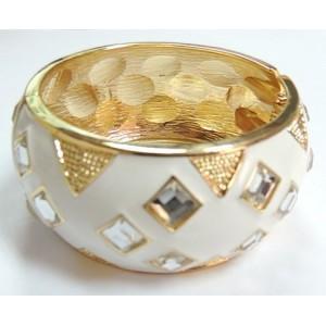China White Enamel Pyramid Design Diamonds Bangle Cuff on sale