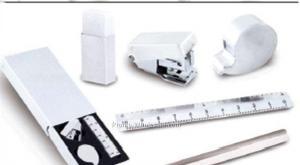 China Stainless Steel 5 PC Set W/ Ruler, Stapler, Tape Dispenser, Pencil & Eraser on sale