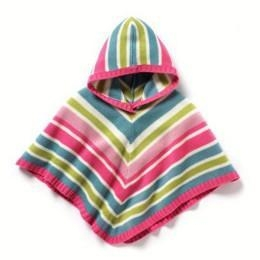 China 2014 French kids stripe hooded shawl girl pullover poncho sweater on sale