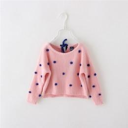 China Girls kids lace-up back cute dots garniture pullover sweater on sale