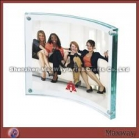 Transparent Cambered Acrylic/Lucite Photo/Picture Frame