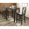 China 3 Piece Tapered Leg Pub Table Set with X-Back Stools for sale