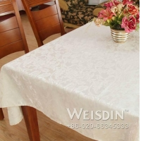 China Weisdin hot sale polyester jacquard table cloth by white colour on sale