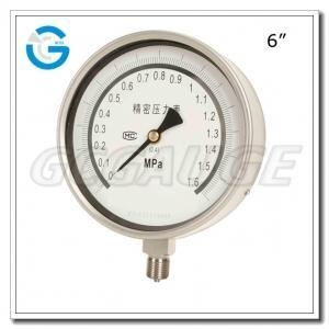 China 6 All stainless steel bottom mount precision pressure gauges on sale