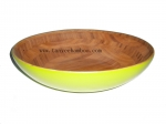 Oval spun bamboo yellow lacquer Fruit bowl