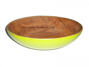 China Oval spun bamboo yellow lacquer Fruit bowl on sale