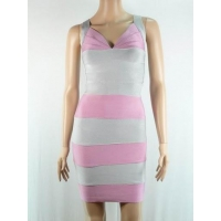 HL036 2013 girls pink with grey V-neck sexy women bandage dress