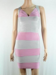 China HL036 2013 girls pink with grey V-neck sexy women bandage dress on sale