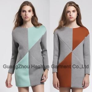 China 2014 fashionable winter women contrast two color dress on sale