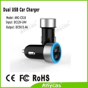 China Made in China Anycas brand Dual USB mobile car charger 3 A for iphone ipad Samsung S5 S4 on sale