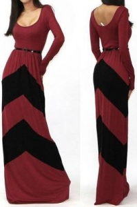 China Long Sleeve Red Black Maxi Dress #LB9786weight: 0.48 kg on sale