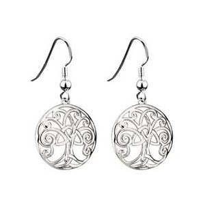 China Rhodium Plated Tree of Life Earrings on sale