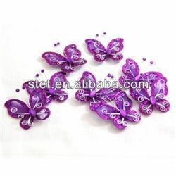 China Wholesale Cheap Craft Artificial Purple Organza Nylon Butterfly on sale