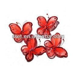 China Wholesale Cheap Craft Artificial Organza Nylon Glitter Butterfly on sale