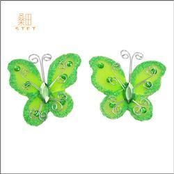 China Wholesale Cheap Craft Artificial Wedding Decorations Organza Nylon Glitter Butterfly on sale