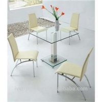 China 2014 new fashion stainless steel dining room table with glass on sale