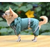China Classic reflective tape water-proof four-legged dog raincoat Green for sale