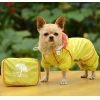 China Double-layer mesh four-legged water-proof dog raincoat Yellow for sale