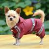 China Classic reflective tape water-proof four-legged dog raincoat Purplish Red for sale