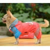 China Double-layer mesh Puppy four-legged Printing water-proof dog raincoat Deeppink for sale