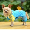 China Double-layer mesh Puppy four-legged Printing water-proof dog raincoat Blue for sale
