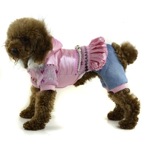 China Classic Waterproof Winter Dog clothes Snow and necklace decoration - Pink on sale