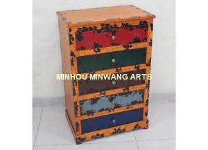 China Orange wooden chest cabinet for storage on sale