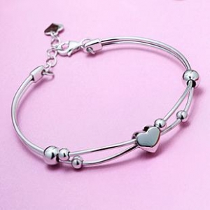 China graceful heart 925 sterling silver bangle on sale