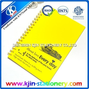 China Oem stationery A4 yellow spiral notebook with 1 color printing on sale