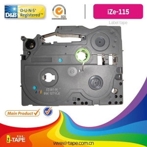 China TZe-115(Length:10M) white on clear tape for Brother P-touch label tape Printer on sale