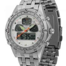 China ESS Men Silver Stainless Steel Digital Date Day Watch on sale
