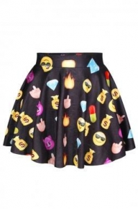 China Black QQ Emoji Print Mini High waisted Skirt on sale