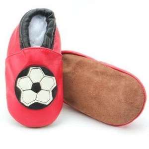 China Durable Never Worn Prewalking Soft Sole Leather Wide Baby Shoes Wholesale Boys Football Red Shoes-BB on sale