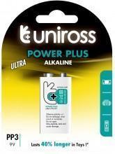 China Uniross 9V PP3 Power Plus Alkaline - Blister Pk 1 (MN1604/6LF22) on sale