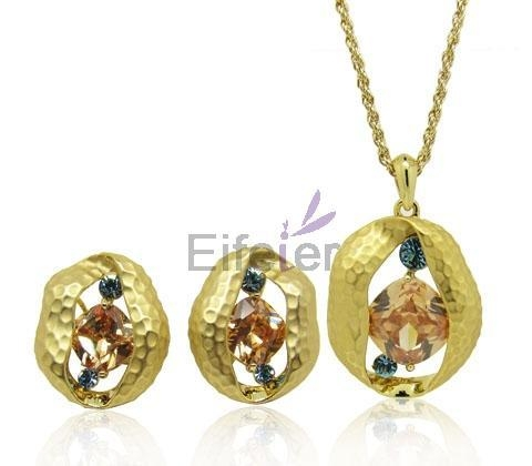 wholesale gold plating round jewelry set with office style