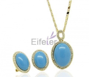 China Wholesale gold plating blue Semi-precious Stone Jewelry Set with Punk Asian Pop for Gift on sale