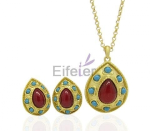 China Wholesale gold plating red Semi-precious Stone Jewelry Set with Office Style Pretty for Gift on sale