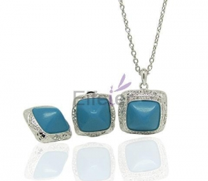 China Wholesale platinum plating Semi-precious Stone Jewelry Set with Eurpean Pop Retro Palace for Gift on sale